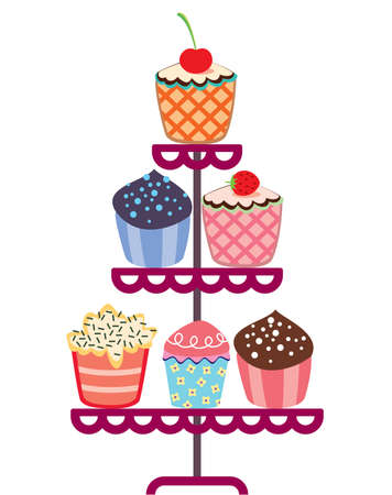 cake stand: vector set of fruit and chocolate cupcakes on a stand