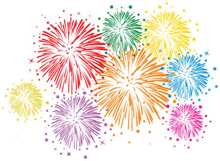 firework: vector colorful fireworks with stars and sparks on white background