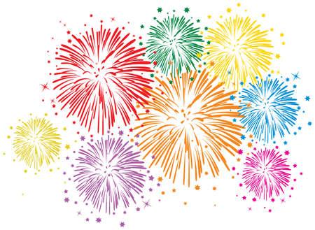 vector kleurrijke vuurwerk met sterren en vonken op witte achtergrond