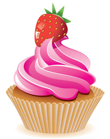 srawberry: vector pink cupcake with srawberry Illustration