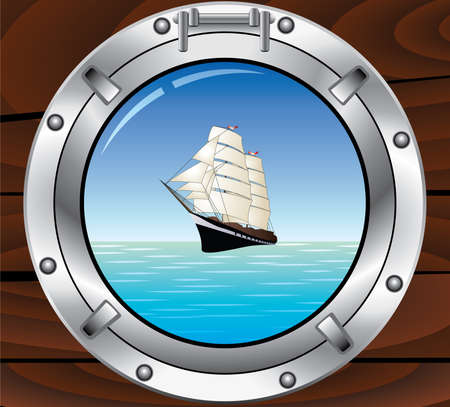 vector travel concept of metal porthole and tallship in the ocean Vector