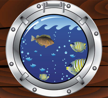 vector porthole and colorful tropical fishes Vector