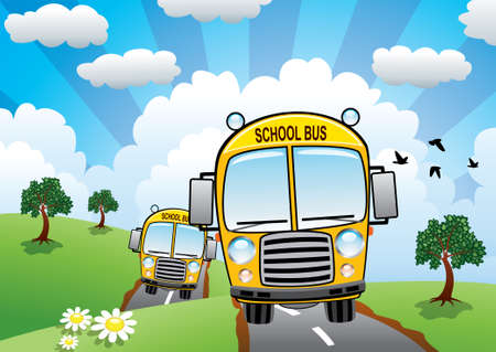 land animals: vector yellow school buses on a country road