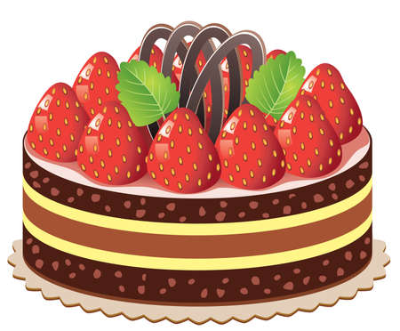 vector cake with strawberry and chocolate Vector