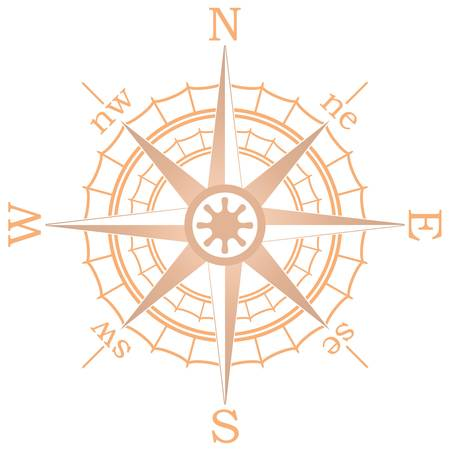 north arrow: vector illustration of brown sailing compass