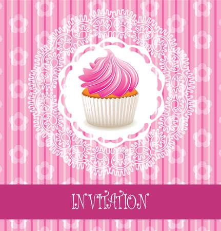 vector retro card with pink cupcake  Vector