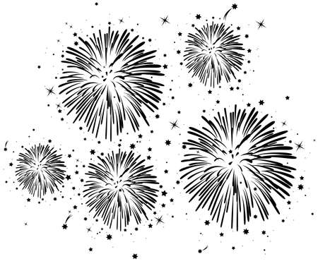 fireworks: vector black and white fireworks background with stars Illustration