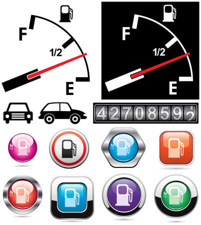 gas gauge: vector illustration of gas gauge and icons of petrol station