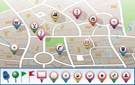 vector city map with GPS icons Stock Vector - 9511859
