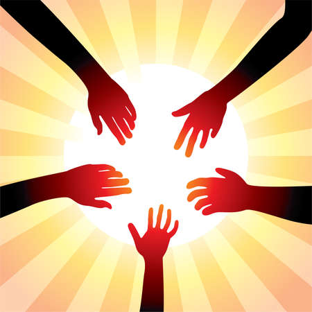 christian people: vector concept of friendly hands around sun