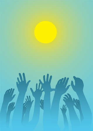 vector illustration of raised hands Stock Vector - 9511849