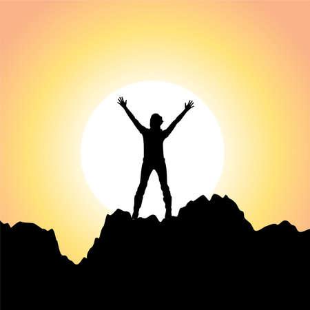 victoire: vecteur silhouette d'une jeune fille avec les mains pos�es