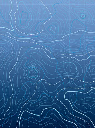 topographic map: vector abstract blue map with wavy lines Illustration