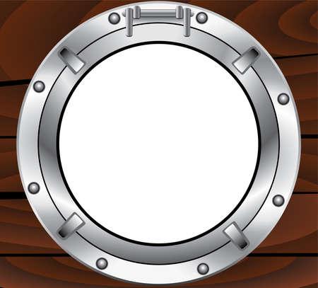 ventana ojo de buey: ojo de buey de metal y madera pared de vectores Vectores