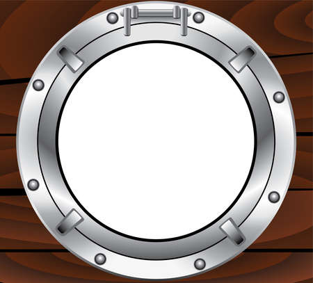 porthole: vector metal porthole and wooden wall