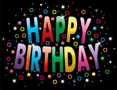 happy birthday text: happy birthday greeting on colorful background
