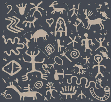 ancient petroglyphs  Stock Vector - 9571682