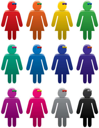 female pink: vector set of colorful woman symbols