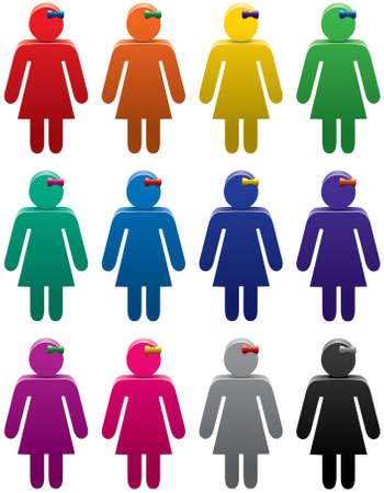 vector set van kleurrijke vrouw symbolen