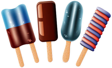 vector set of colorful fruit and chocolate popsicles