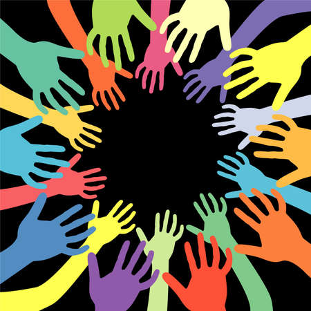 world group: hands of many colors vector background