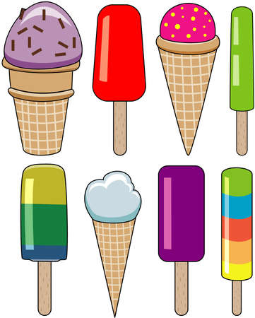 ice lolly: vector set of colorful icecream and popsicles