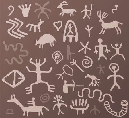 indigenous: vector ancient petroglyphs Illustration