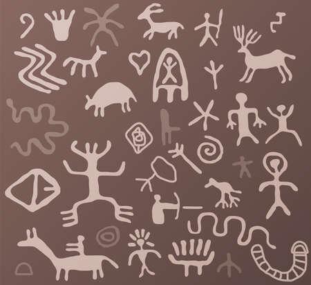 indian light: Vector petroglifos antiguos