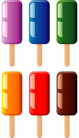 popsicle: vector set of fruit and chocolate colorful popsicles