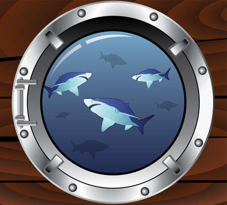 ventana ojo de buey: ojo de buey de vector y tiburones peligrosos  Vectores