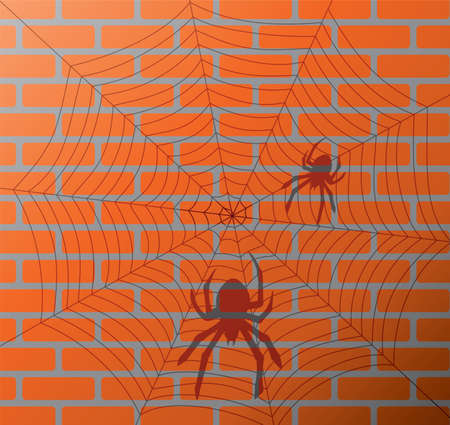 vector illustration of shadow of spiders and web on a brick wall Vector