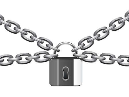 to lock: illustrazione vettoriale di metallo catena e lucchetto  Vettoriali