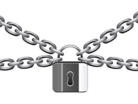 safe lock: vector illustration of metal chain and padlock