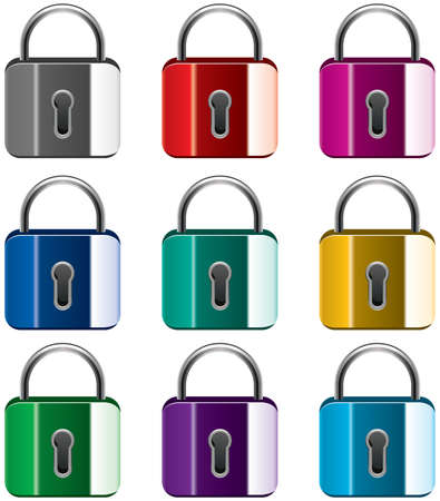 vector set of colorful metal locks Stock Vector - 9653609