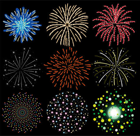 star and flame: vector set of colorful fireworks  Illustration