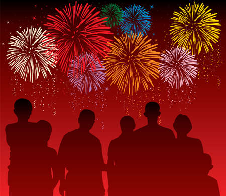 watch new year: vector illustration of people watching colorful fireworks  Illustration