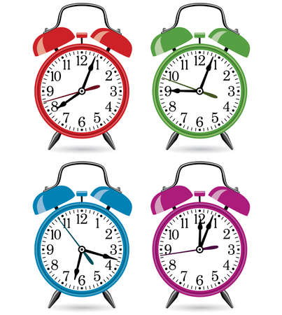 cartoon tick: set of colorful retro alarm clocks