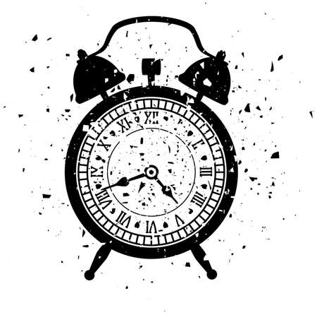 old time: retro alarm clock in grungy style