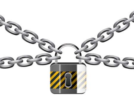 metal chain and padlock Vector