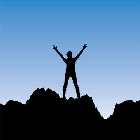 mountain climber: silhouette di una ragazza con le mani alzate Vettoriali