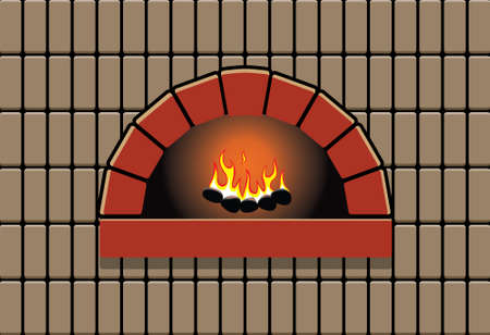 oven with burning fire Vector