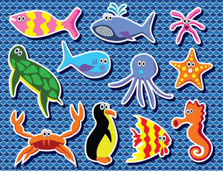 colorful sea animals Stock Vector - 9715651