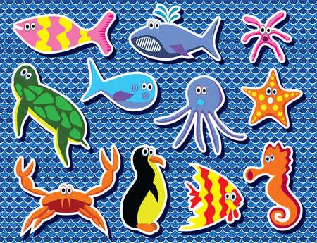 colorful sea animals Stock Vector - 9715651