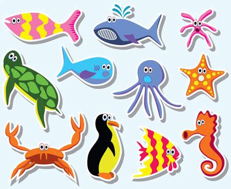 marine bird: conjunto de animales marinos colorido