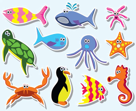 sea green: set of colorful sea animals Illustration