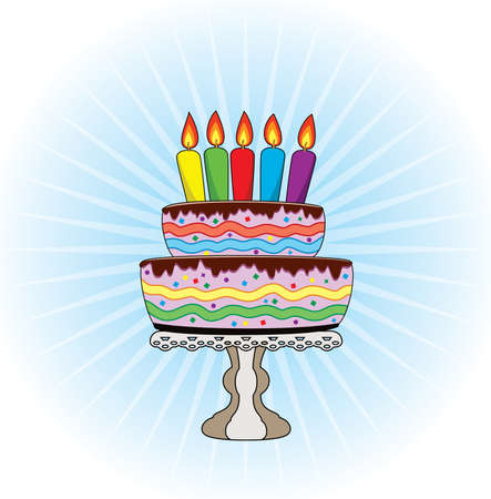 vector birthday cake on a stand with burning candles Vector