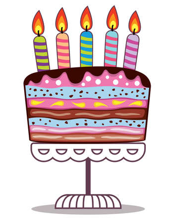 dessert stand: vector birthday cake on a stand with burning candles Illustration