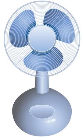 white fan: vector electric table fan on white background