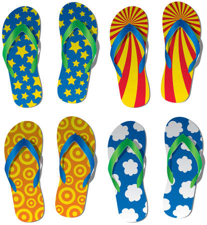 vector set of colorful flip flops
