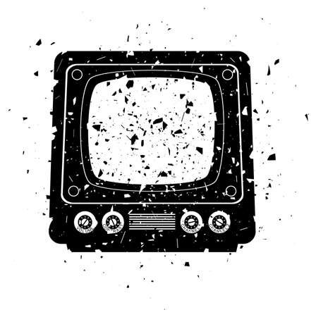 vector grungy illustration of retro tv set  Vector